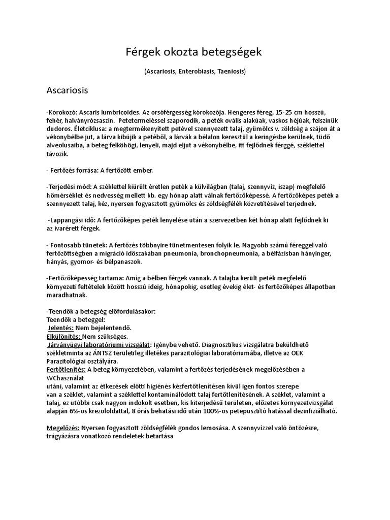 az enterobiosis tünetei)