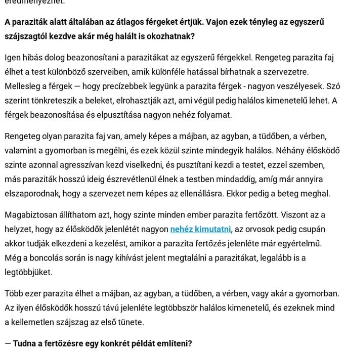 paraziták az emberi agy tüneteiben és kezelésében)