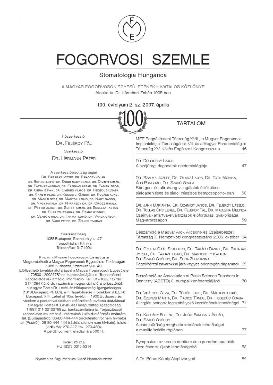 Fogorvosi Szemle /2 by MFE HDA - Issuu