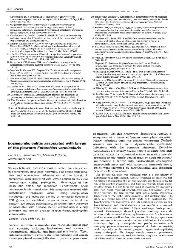 enterobius vermicularis eosinophilia