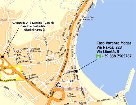Giardini naxos to taormina distance