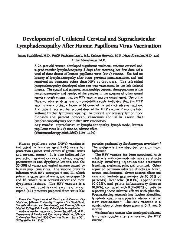 humán papillomavírus lymphadenopathia)